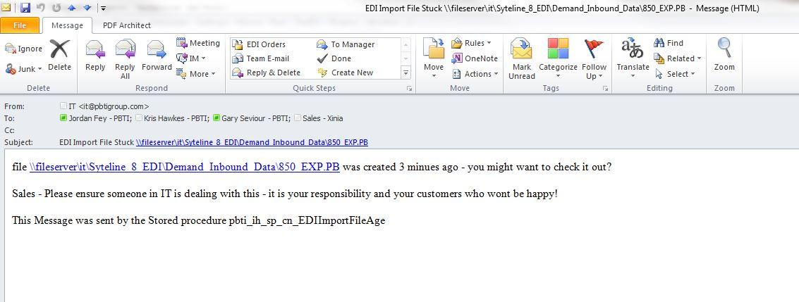 EDI Error Duplicate Data - Email Alert