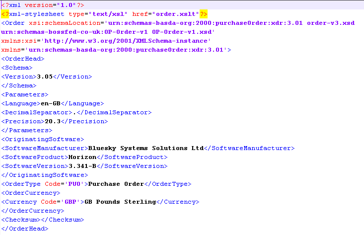 EDI xml File Sample